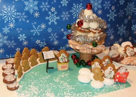Hye Thyme Cafe: Archway Cookies - A Challenge of a Different Sort: a holiday scene made out of Archway cookies