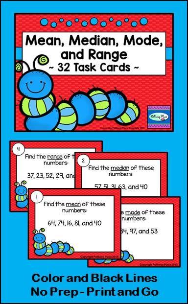 Mean Median Mode and Range 32 Task Card Set - Statistics ($)