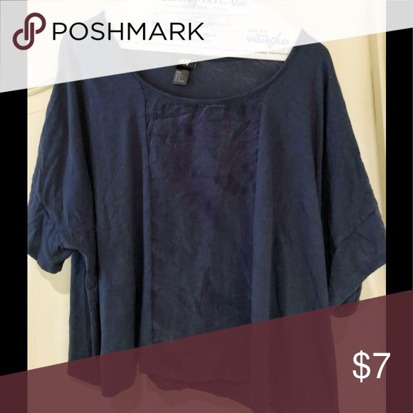 H&M Navy Short Sleeve Top Oversized and slightly cropped Silk front panel Flowy  Perfect with high waisted jeans or a maxi skirt H&M Tops Crop Tops
