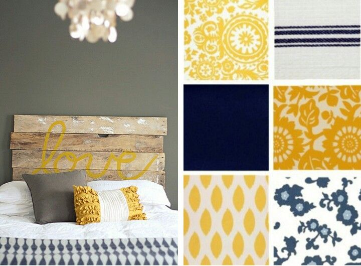 Yellow, grey, & navy blue color palette. master bedroom and or living room