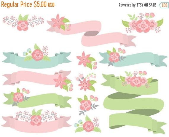 70% OFF SALE Floral Ribbons Clipart - Digital Vector Flowers, Wedding, Ribbons, Banners Clip Art