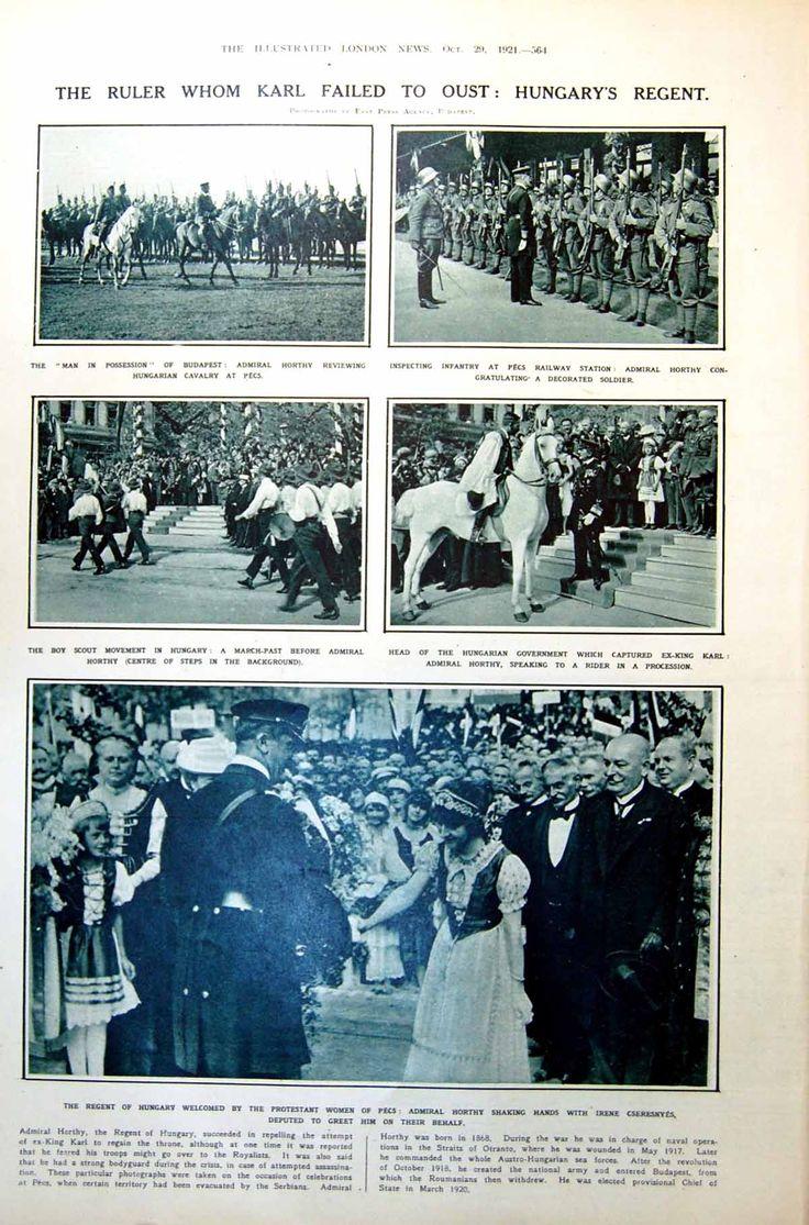Londoni Képesújság 1921 Magyarország Horthy, Pécs