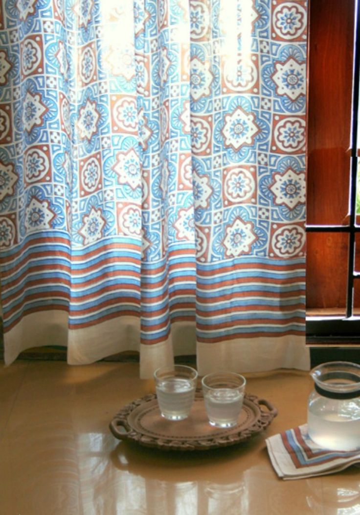 A Charming Moroccan Tile Inspired Print Makes Up The Pattern For This  Curtain Panel, Rendered In Azure Blue, Warm Cinnamon Brown And Ivory.