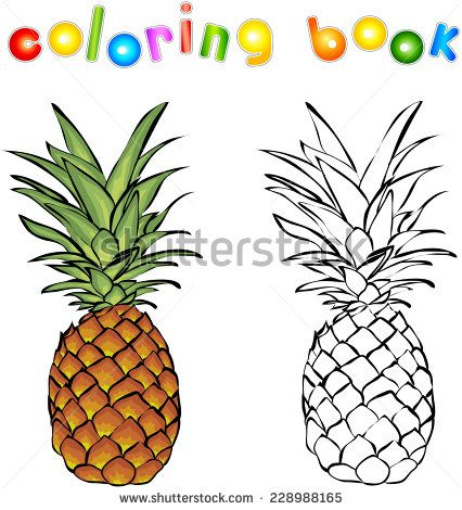 Cartoon pineapple coloring book. Vector illustration for children