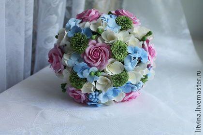 Свадебный букет . - голубой,полимерная глина,свадьба,свадебный букет,розы