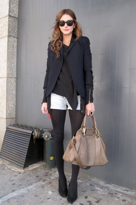 .: Oliviapalermo, White Shorts, Street Style, Outfit, Olivia Palermo, Jeans Shorts, Black Tights, Denim Shorts, Bags