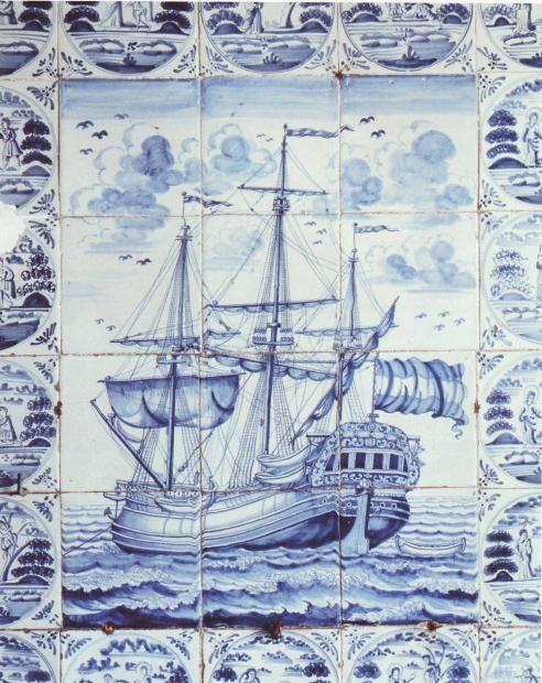 Antique Dutch Delft ship tile panel dated 1770