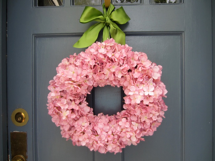 Light Pink Hydrangea Wreath with Sage Green by MonicaMurrayHome - lovely