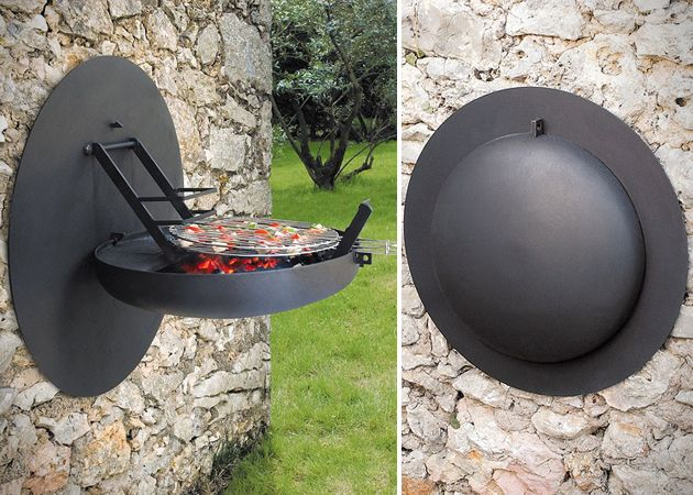 FOLDING WALL MOUNTED BBQ GRILL. Great for apartment living .. although someone would probably be stupid and burn the whole place down
