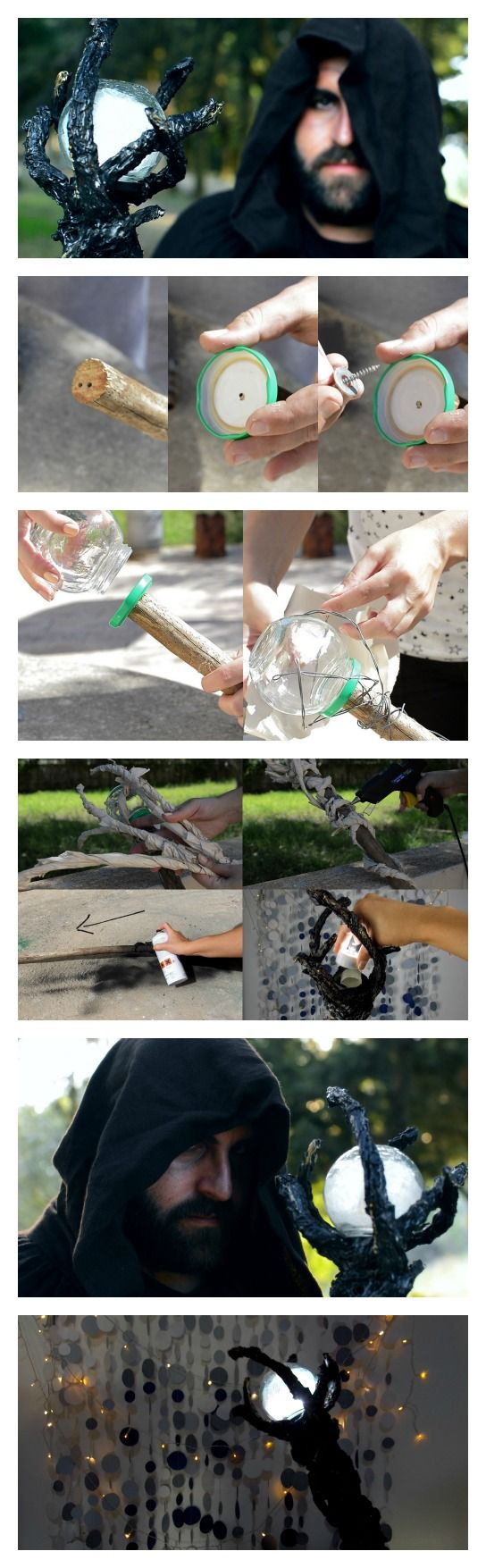 DIY illuminated wizard's staff how-to halloween costume - If Ame is going to have a staff (Just a possibility) this might be cool