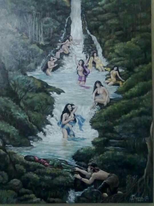 Jaka Tarub dan 7 bidadari Cat minyak diatas kanvas Ukuran 80cm X 60cm Lengkong Wetan Tangerang Selatan Banten Indonesia