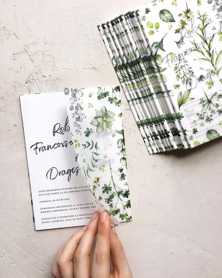 Greenery Wedding Invitations. Vellum Paper Wrap And