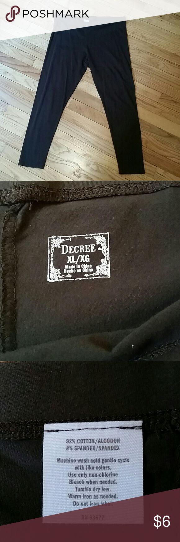 Decree Chocolate Brown Leggings EUC Chocolate brown leggings, 92% cotton, 8% spandex. Length is 33 inches. Worn only one time, EUC. Decree Pants Leggings
