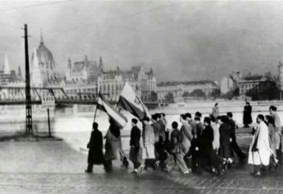 Szia! Pięknie uwieczniona chwila. Budapeszt 1956 - podczas powstania węgierskiego.  Találtam egy fotót '56-ból. Lengyel zászló Budapesten.