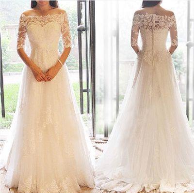 Romantic wedding dress,Off the Shoulder Wedding Dress,Tulle wedding dress,Half-Sleeves Wedding dress P573