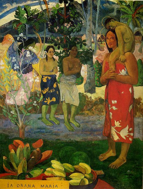 Gauguin...this was one of his most controversial paintings dues to the detail on the right where the woman and child are portrayed as saints..was a huge blasphemy in those days