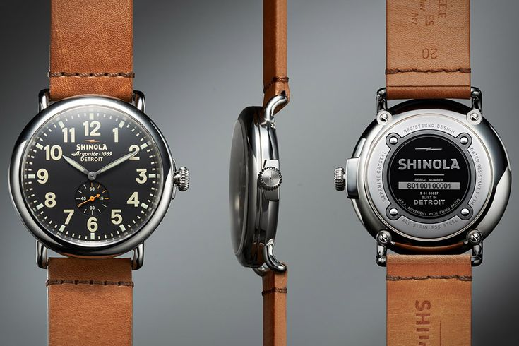 """The Shinola Runwell Watch ($550) is hand-made in D-town using nearly four-dozen Swiss-made parts. Features include an Argonite 1069 quartz movement, a domed sapphire crystal, a 40 or 47mm stainless steel case, an illuminated dial, and a vegetable-tanned Horween leather strap."""