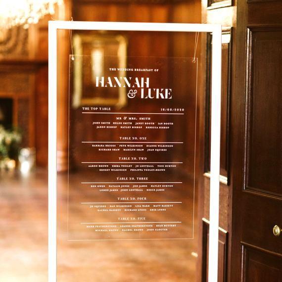 Acrylic Wedding Table Seating Plan In 2020 Wedding Table Plan Wedding Table Seating Plan Wedding Table