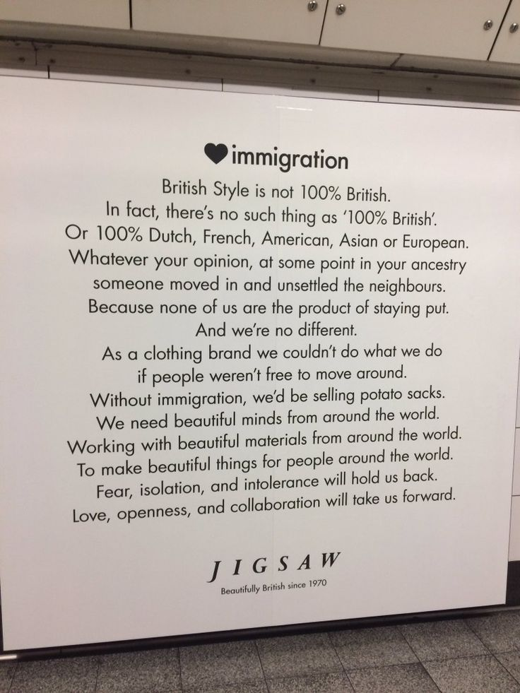 Jigsaw has wrapped Oxford Circus station in a big pro-immigration ad campaign - people were taking pics of this text, not the clothes photos