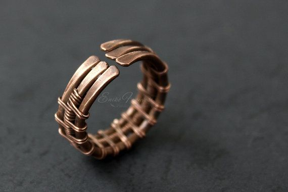 Copper wire wrapped ring by EnikoFenyvesiJewelry on Etsy