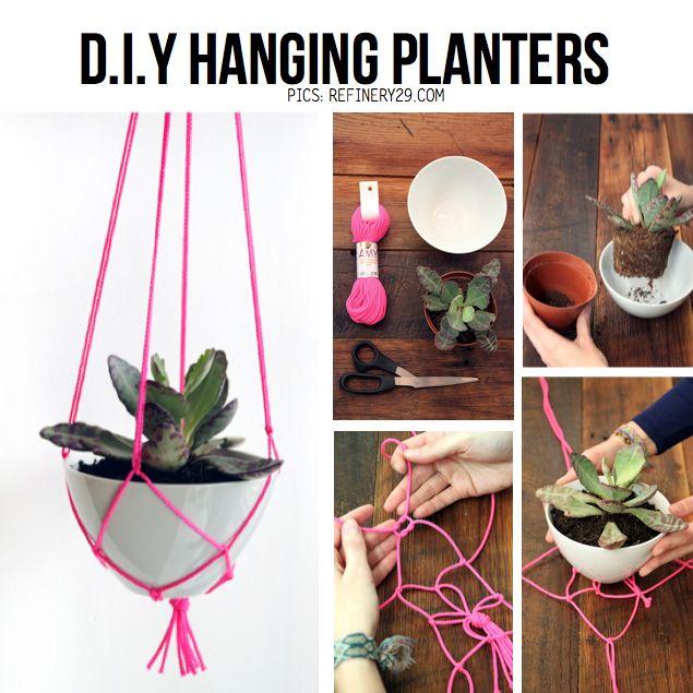 DIY Neon Hanging Planter  -- yes please