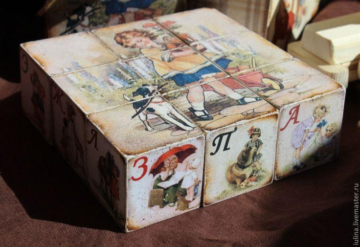 """Купить Кубики с алфавитом """"Из детства..."""" - кубики, кубики деревянные, кубики с азбукой, буквы"""