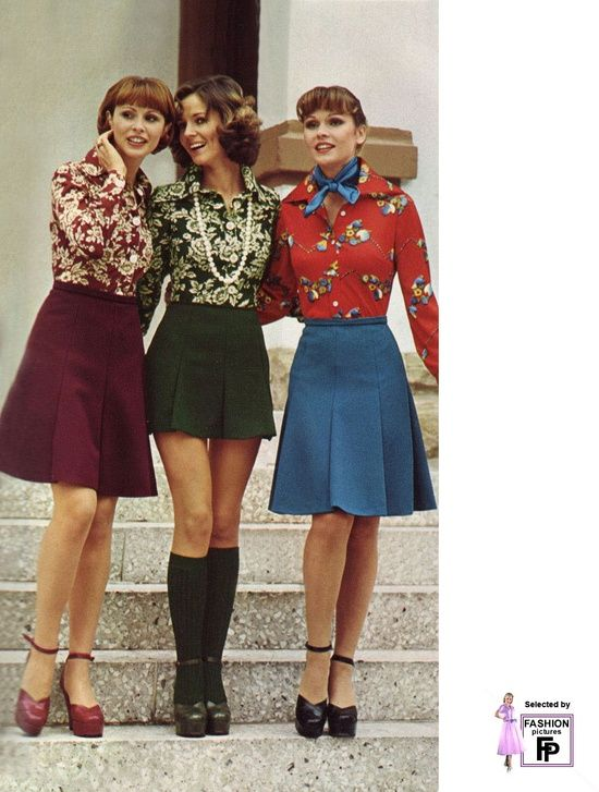 1974 women's fashions. - love the longer skirts. The rest? Shudder... (I lived through the 70s - fashion was *bad*!)
