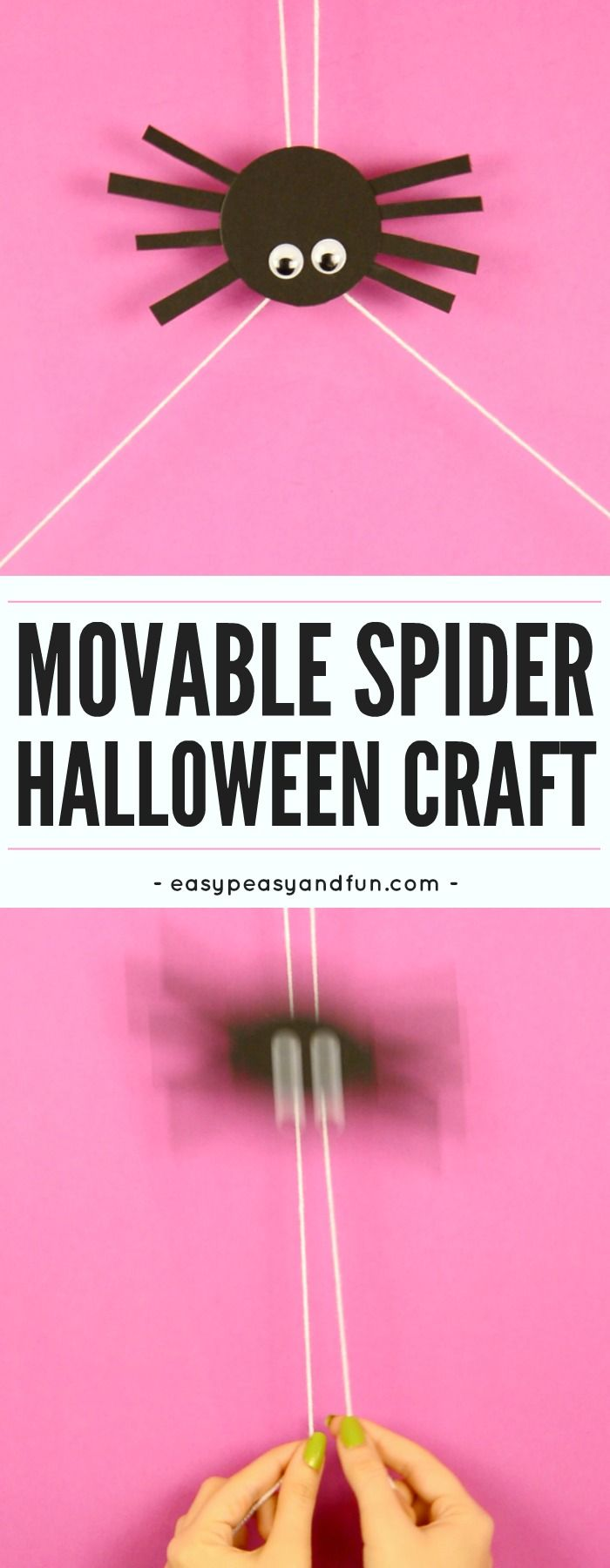 Movable spider craft for kids. Super fun Halloween craft idea for kids.