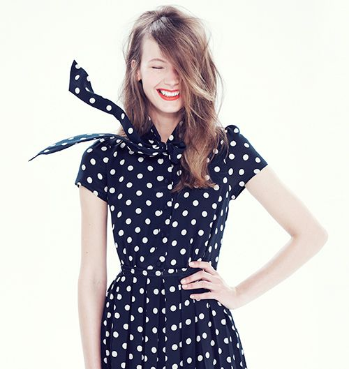 J. Crew Polkadot Tie Neck Dress jcrew polkadot