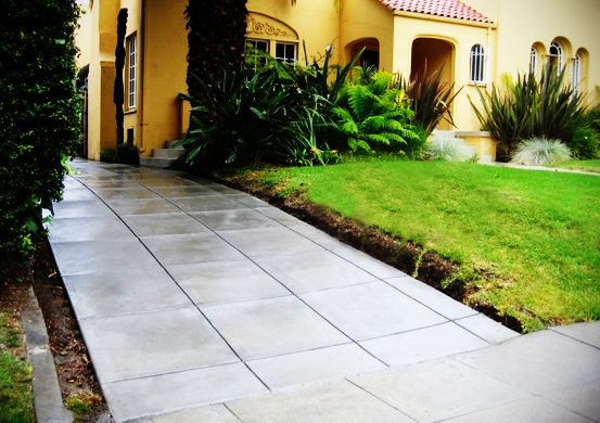 Concrete Driveway Idea With Saw Cut Pattern Outdoor