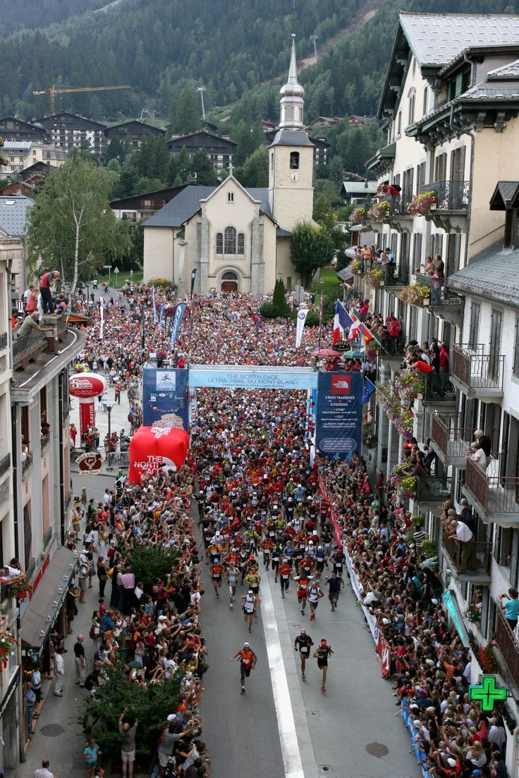 The start of the infamous Ultra Trail du Mont Blanc taking place in Chamonix in August