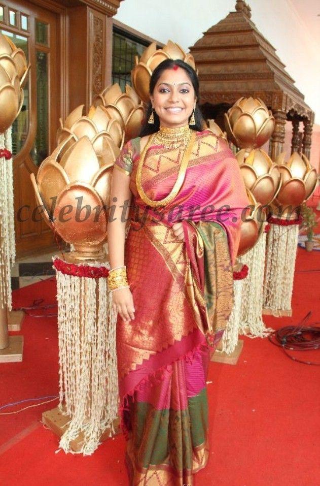 Aparna Pillai Bridal Silk Sari At Sneha Reception Saree