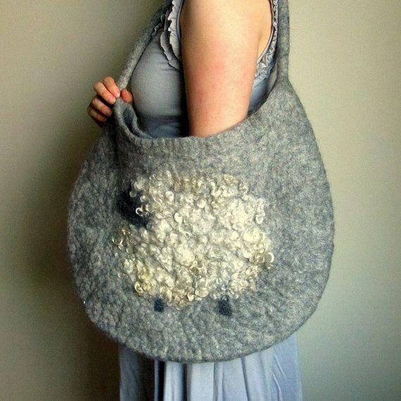 Sheep Bag Wet Felted Bag Large Handmade Felt By