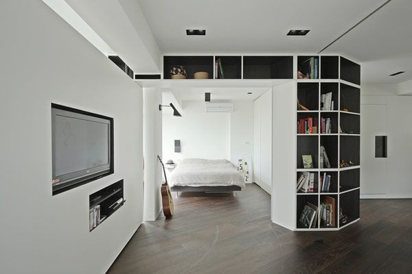Rotating Partitions Allow Instant Conversion of Four Rooms Into a Single Interior: Dark Interiors, Kc Design, Studios Rooms, Interiors Design, Studios Interiors, Apartment, Rooms Partition, White Interiors, Design Studios