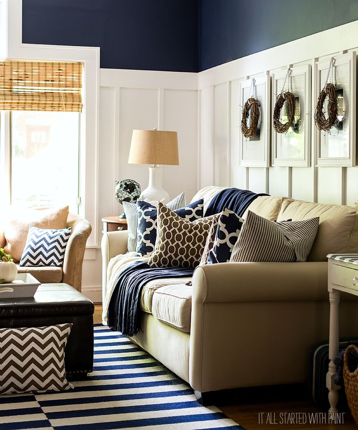 Fall Decor In Navy And Blue Beige Living Rooms Accent Colors And Hanging Art