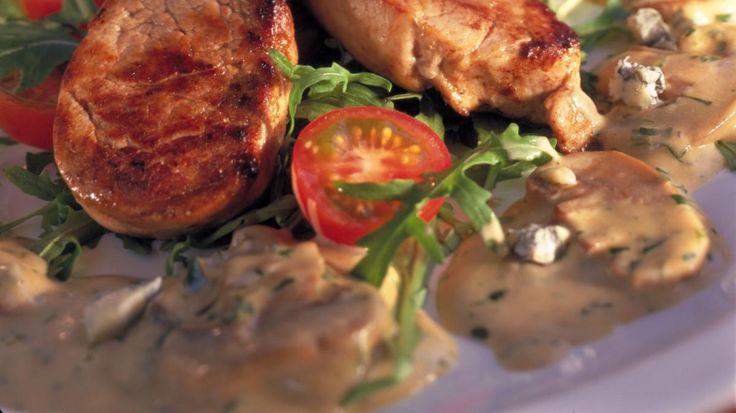 Oppskrift på Svinefilet med saus av blåmuggost