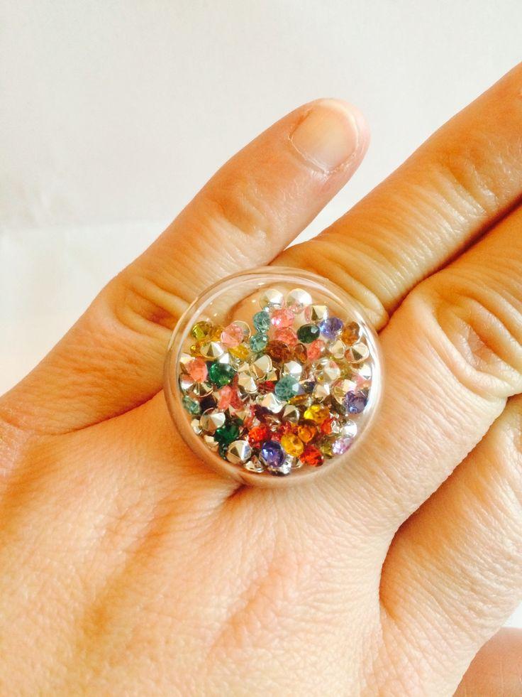 Bague bulle verre mini strass multicolor réglable : Bague par manava-creation