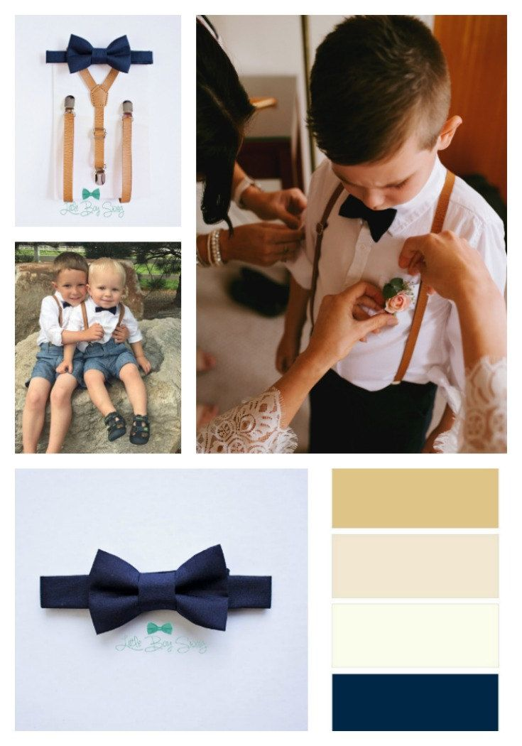 #Navy inspired wedding outfit for ring bearers.    Boys Leather Suspenders And Navy Bow Tie, Boys Suits, Ring Bearer Outfit, Wedding Bow Tie, Baby Boy Bow Tie, Boys Clothes, Boys Suspenders by LittleBoySwag on Etsy
