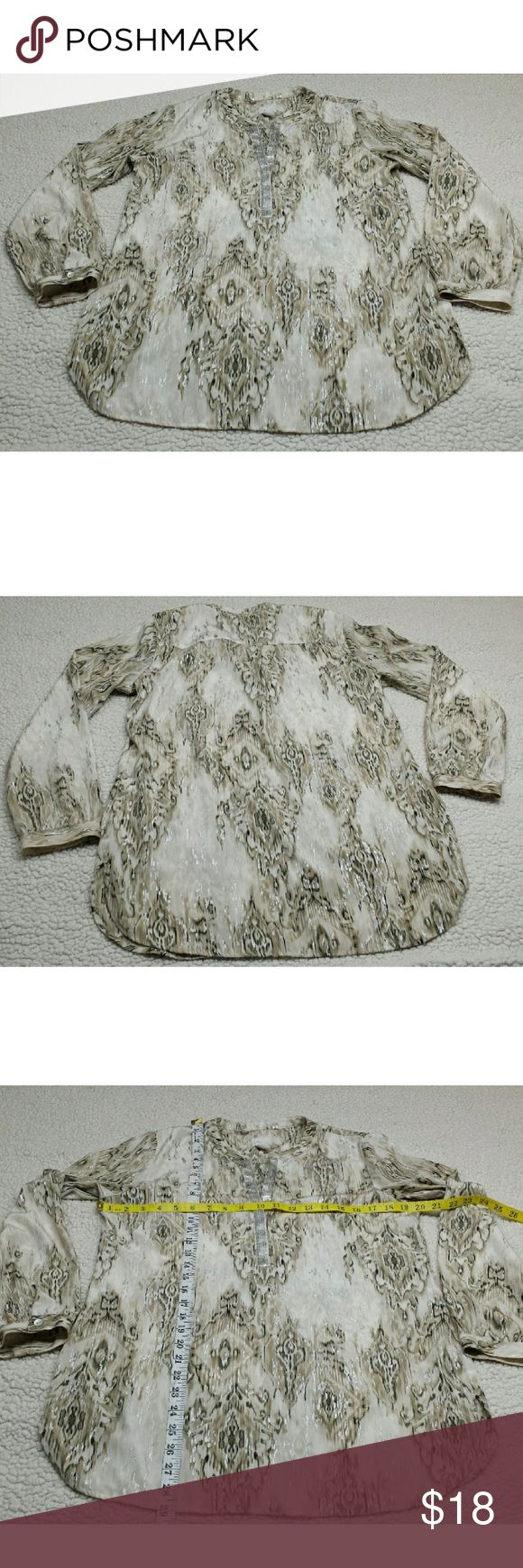 chico's tunic size 0 Chicks 1 women's metallic shimmer sequin tunic top v - neck long sleeve shirt SZ 1 Chico's Tops Tunics