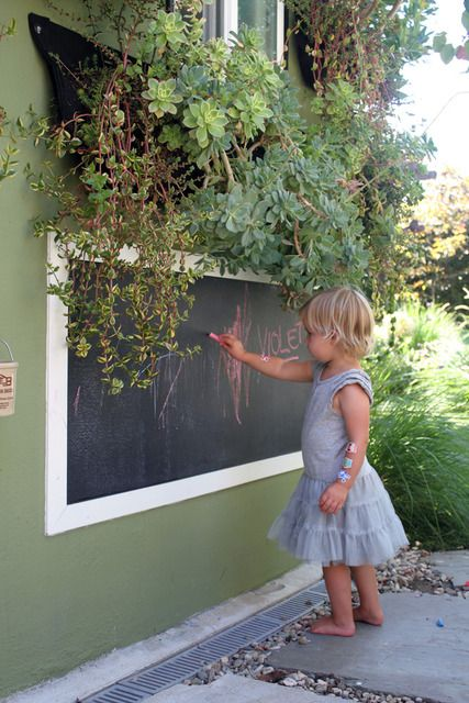 DIY - an outdoor chalkboard on the side of the house!! brilliant. Piece of board painted with chalkboard paint, a quick frame and let the drawings begin !! I want this on the garage.