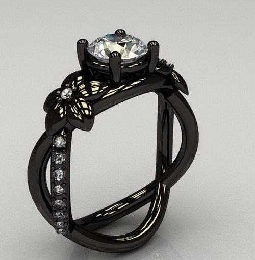 black wedding rings engagement princess cut with diamond black wedding ring for women - Wedding Rings Black
