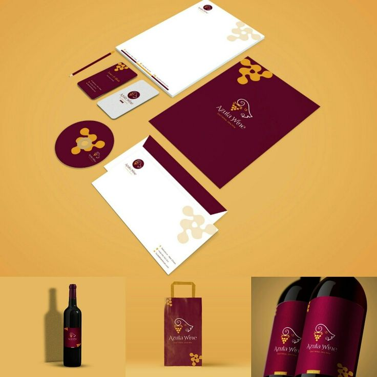 Azula wine stationary By me 💕💕💕 business cards+envelope+letterhead+cd bottle + paper bag