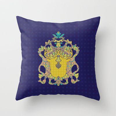 Blue Rose : Blue Polka Throw Pillow by Geetika Gulia - $20.00