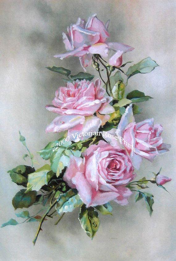 French Cabbage Roses Print Rosebuds Half Yard Long Catherine Klein Pink Rose