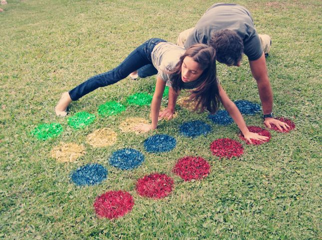 Make your own Twister game right on your lawn.
