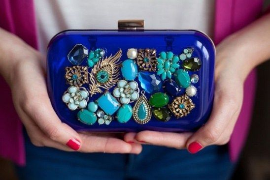 This would be easy to make---if you can find the right type of clutch!  Upcycled Jewel Box Clutch   19 Insanely Easy DIY Projects That Are Perfect For Beginners