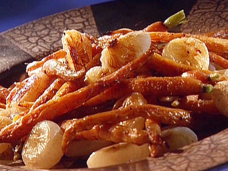 Roasted Carrots and Cippolini Onions recipe from Guy Fieri via Food Network ~ Bake 400 degree oven 25 to 30 minutes.