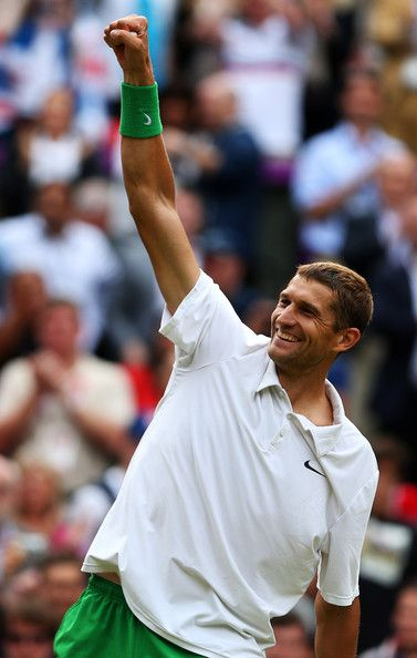 Max Mirnyi of Belarus celebrates winning gold with his partner Victoria Azarenka of Belarus after their Mixed Doubles Tennis gold medal match against Laura Robson of Great Britain and Andy Murray of Great Britain on Day 9 of the London 2012 Olympic Games at the All England Lawn Tennis and Croquet Club on August 5, 2012 in London, England.