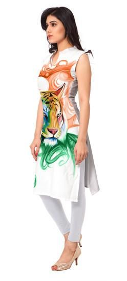 LadyIndia.com # Anarkali, Trendy White Sleeveless Printed Kurti For Women, Kurtis, Kurtas, Cotton Kurti, Anarkali, A-Line Kurti Designer Kurti, https://ladyindia.com/collections/ethnic-wear/products/trendy-white-sleeveless-printed-kurti-for-women?variant=30039335501