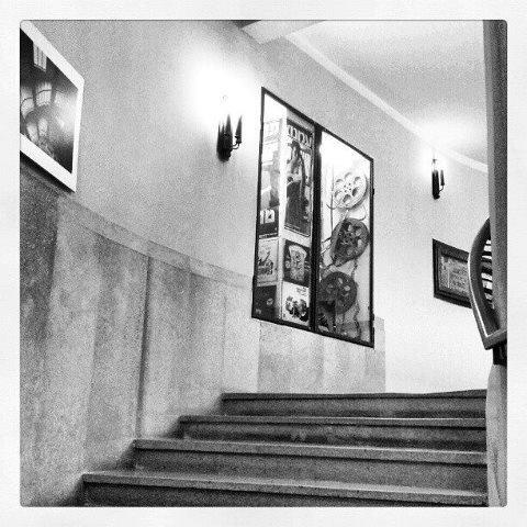 Main stairs on the Cinema Hotel, Tel Aviv. www.atlas.co.il (love black and white photos)
